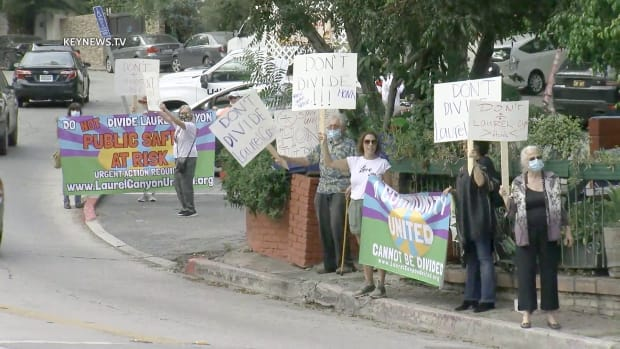 Protest in Hollywood Hills Over City Council Redistricting.