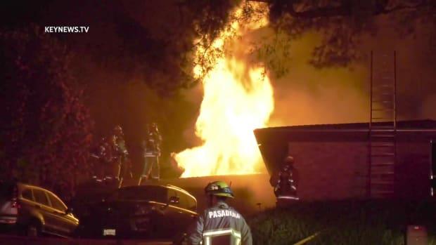 Firefighters Battle Blazing Roof Fire in Pasadena