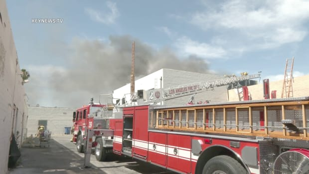 Firefighters at the Scene of North Hollywood Commercial Structure Fire