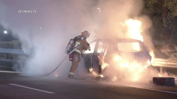 Vehicle in Flames After Pursuit