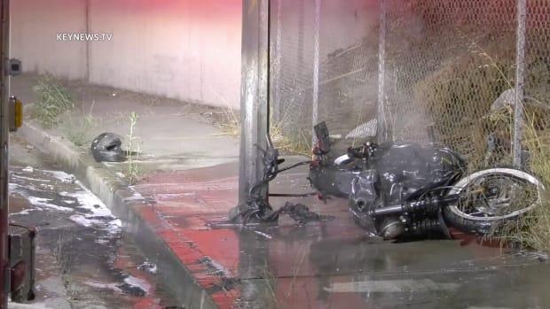 Motorcycle Burns in Glendale Crash