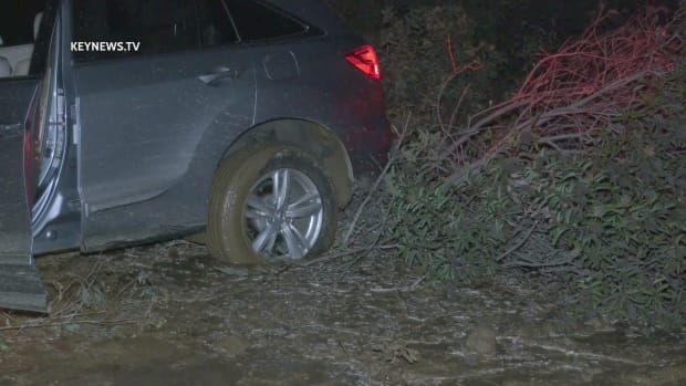 Vehicle Stuck in Mud After Water Main Break on Mulholland