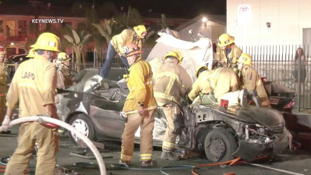 Firefighters Free Trapped Man in Vehicle After Collision