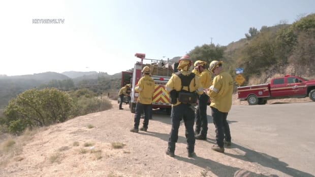 Firefighters on the Scene of the Flores Fire in Topanga