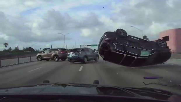 SUV FLIPS UPSIDE DOWN DURING STOLEN VEHICLE HIGH SPEED CHASE