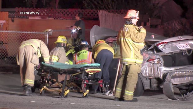 Crews Work to Free Person Trapped in Car After Pomona 2-Vehicle Collision