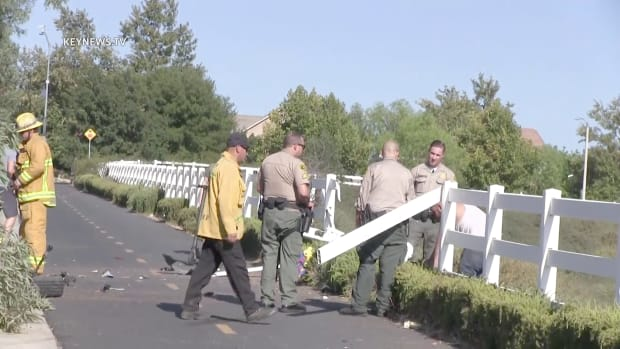 Driver Plows Through Tree, Fence and Lands Down Hillside in Saugus