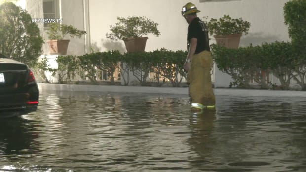 Water Floods into Bel-Air Resident's Property