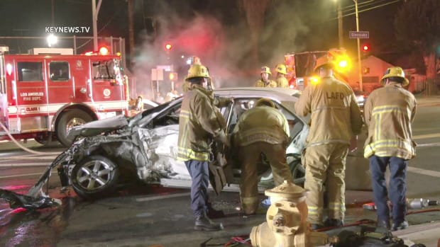 One Trapped After Collision in Pacoima