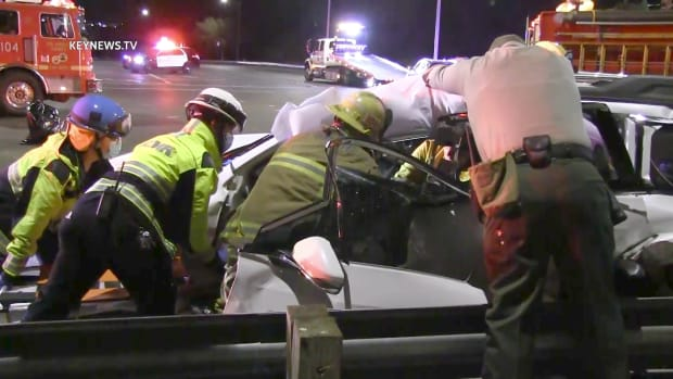 First Responders Work to Free Trapped Person After 3-Vehicle Collision in Canyon Country