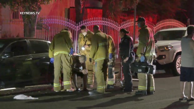 LAFD Attends to Wounded Driver in Sun Valley Shooting