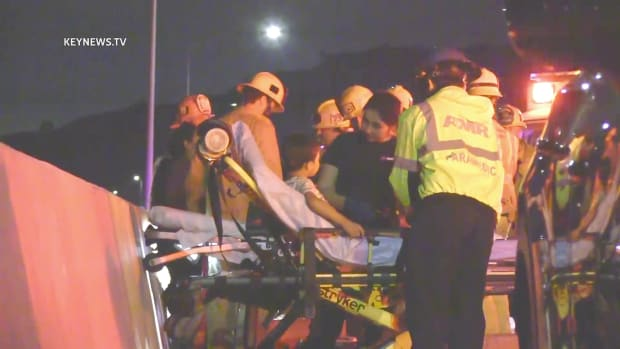 Paramedics Attend to Child After 5 Freeway Collision in Santa Clarita