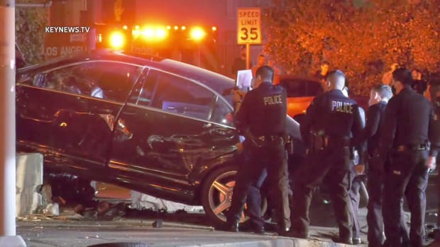 Police Surround Pursued Human Trafficking Suspect Vehicle After Collision