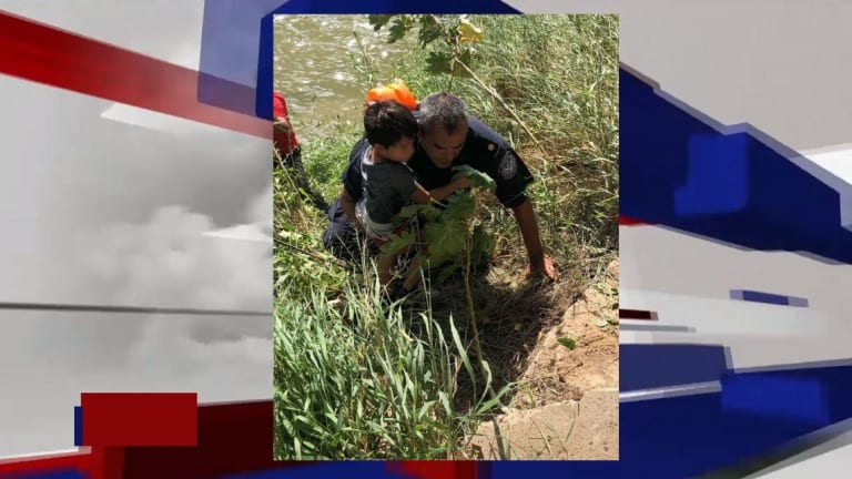 UNDOCUMENTED FATHER & SON RESCUED FROM RIVER WHILE ENTERING U.S.A. ILLEGALLY
