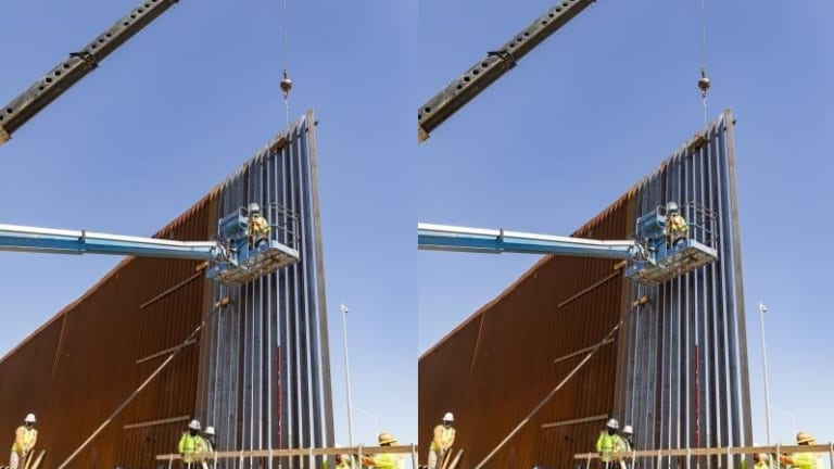 BORDER WALL CONSTRUCTION STARTS, FIRST PANELS GO UP