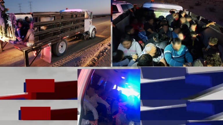 52 ILLEGAL IMMIGRANTS FOUND IN VAN AND IN THE BACK OF LARGE STAKE TRUCK