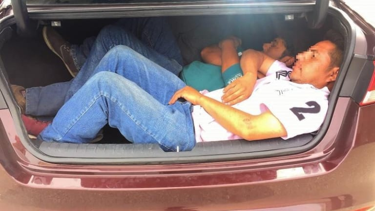 ILLEGAL IMMIGRANTS FOUND IN TRUNK OF CAR ELUDING AUTHORITIES