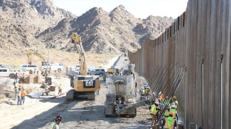 NEW BORDER WALL COMPLETED IN ARIZONA, 107 MILES OF WALL, 30 FEET HIGH