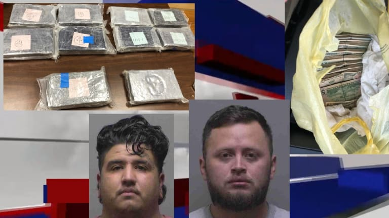 10 KILOGRAMS OF COCAINE FOUND DURING TRAFFIC STOP, 2 LATINO MEN ARRESTED