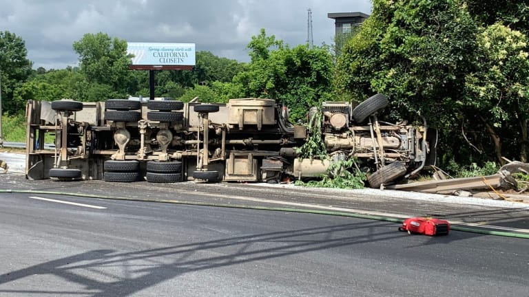 FIRE TRUCK FLIPS OVER IN MIDDLE OF ROAD, SEVERAL FIRE FIGHTERS HURT