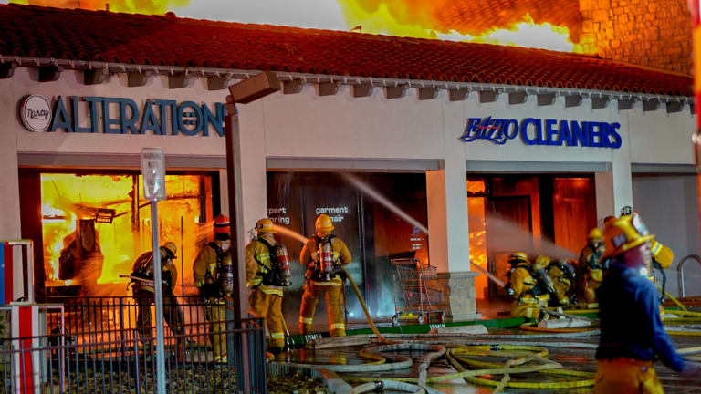 Roof Collapses During Major Emergency Fire at Woodland Hills Strip Mall