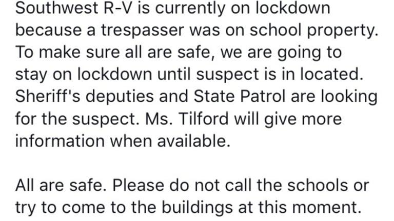Southwest Schools were on Lockdown in Washburn Missouri
