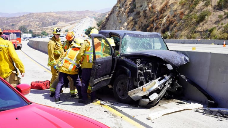 Vehicle Crashes into Divider of Southbound 14 Freeway in Newhall