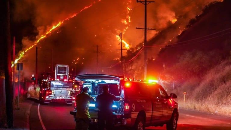 LAFD Battled Early Morning Brush Fire on Sepulveda Pass Hillside