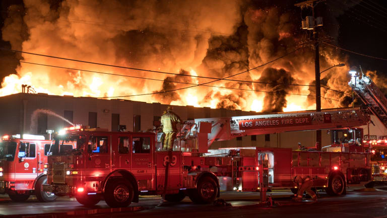 Massive Fire Erupts at Auto Body Parts Business