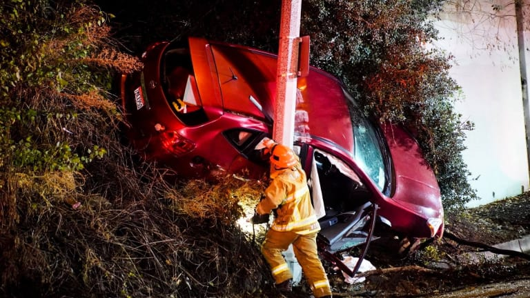 Speeding Vehicle Careens off Mulholland in the Hollywood Hills