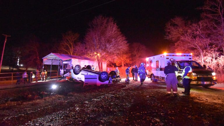 Single Car Rollover Hits Garage and RV, Lonnie Lane and 43 Highway in Seneca