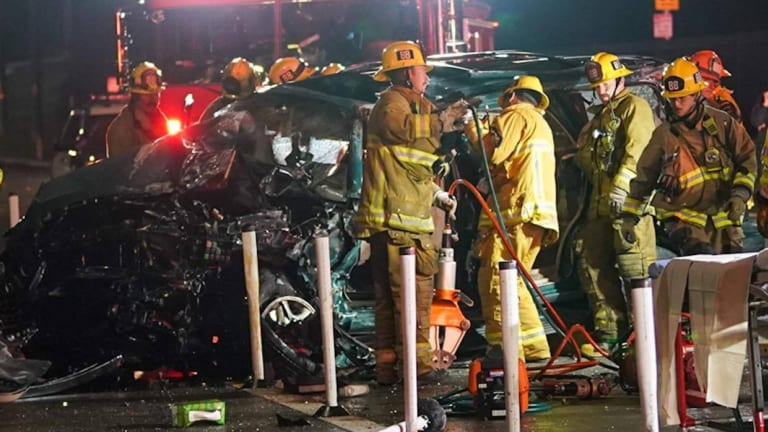 Driver Extricated in Single Vehicle Crash on Mulholland Drive