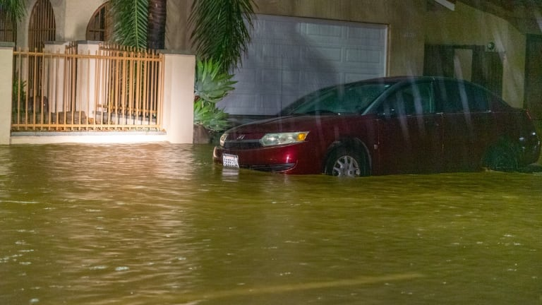 Flooding in Panorama City During Early Morning Rain Storm