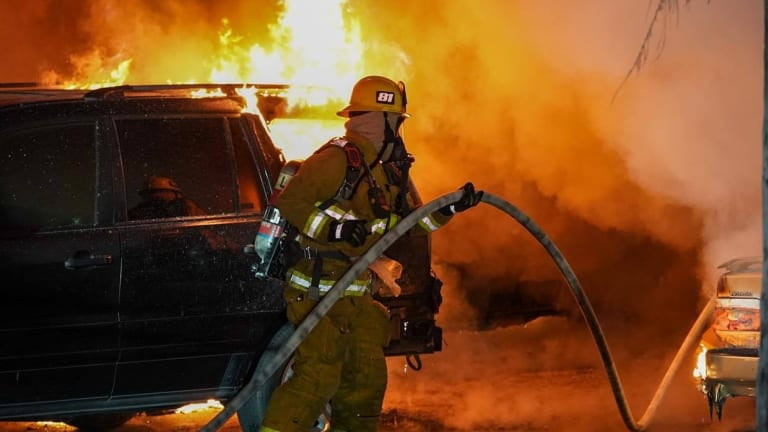 Early Morning Car Port Blaze Damages Vehicles in Panorama City
