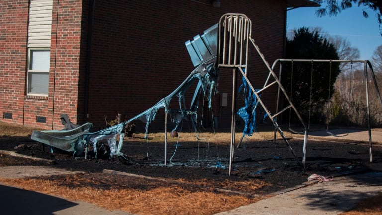 Playground Equipment at an Apartment Complex Catches Fire