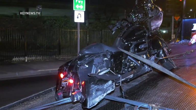 Motorcyclist Thrown in Freeway Collision Dies on Street Below Overpass