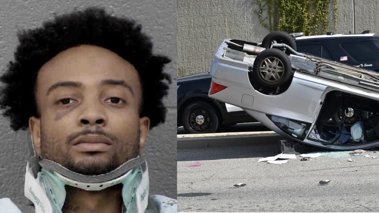 SUSPECT IN CAR THAT FLIPPED UPSIDE DOWN DURING CHASE WITH POLICE