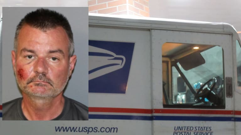 MAIL-MAN FALLS OUT OF MAIL TRUCK ON THE JOB, CHARGED WITH DWI