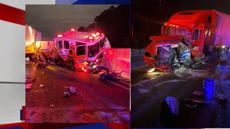 18-WHEELER TRUCK CRASHES INTO FIRE TRUCK ON INTERSTATE 77
