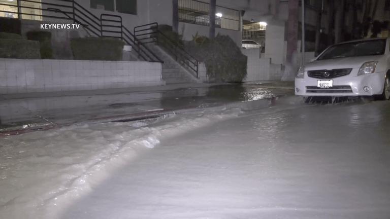 Water Main Break in Koreatown Sends Water Gushing into Street