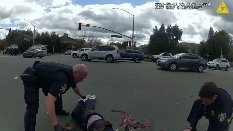 VIDEO: POLICE OFFICER KILLS HOMELESS BLACK MAN WITH KNIFE IN MIDDLE OF TRAFFIC