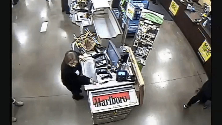 VIDEO: KROGER GROCERY STORE ROBBED, ELDERLY EMPLOYEE KNOCKED TO GROUND