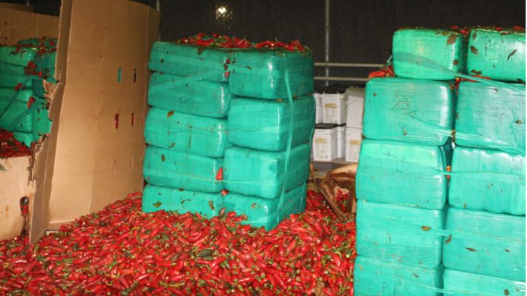 $2.3 MILLION OF MARIJUANA FOUND INSIDE SHIPMENT OF JALAPENO PEPPERS