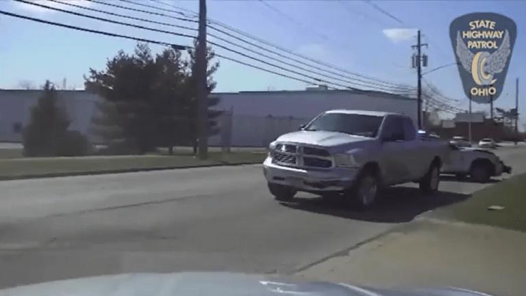 VIDEO: STOLEN TRUCK VS. COP CAR, THE TRUCK WON