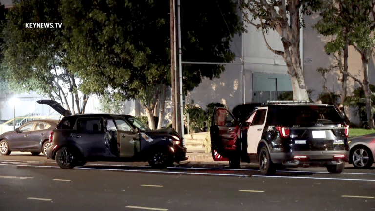 Sedan Collides into Parked LAPD Patrol Vehicle Injuring 2 Officers