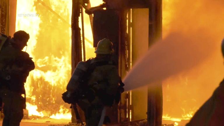 Vacant Auto Repair Facility Burns in Pacoima
