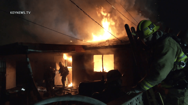 LAFD Battled Blaze in Boarded Vacant Home in Pacoima