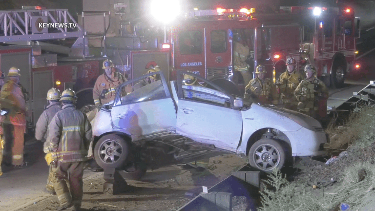 Person Trapped in Boyle Heights Freeway Transition Rollover