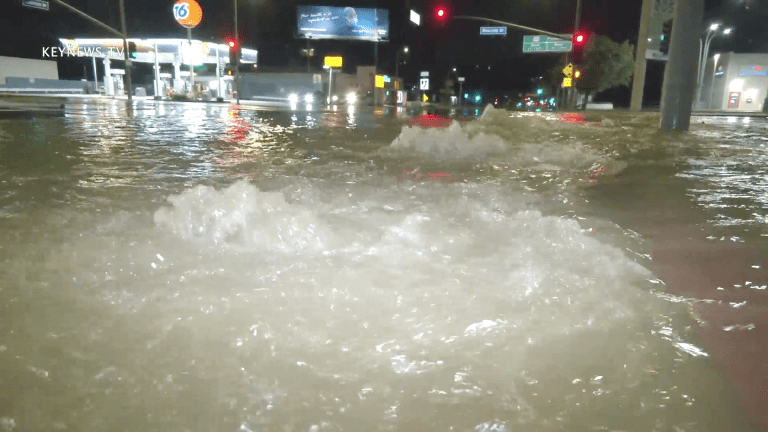 Water Main Break Floods Sherman Oaks Intersection