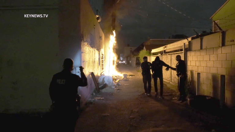 Fire Erupts in Pico-Union Alley